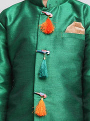 Boys' Green Cotton Silk Blend Kurta and Dhoti Pant Set