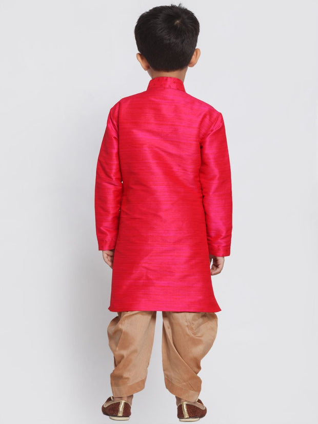 Boys' Pink Cotton Silk Blend Kurta and Dhoti Pant Set