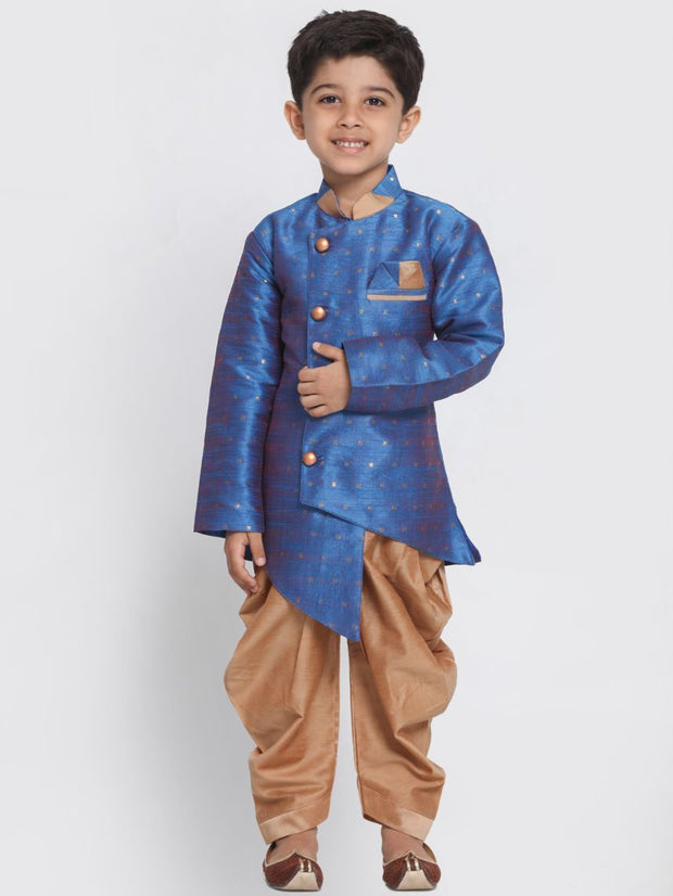 Boys' Blue Cotton Silk Blend Kurta and Dhoti Pant Set