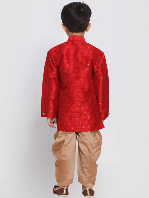 Boys' Maroon Cotton Silk Blend Kurta and Dhoti Pant Set