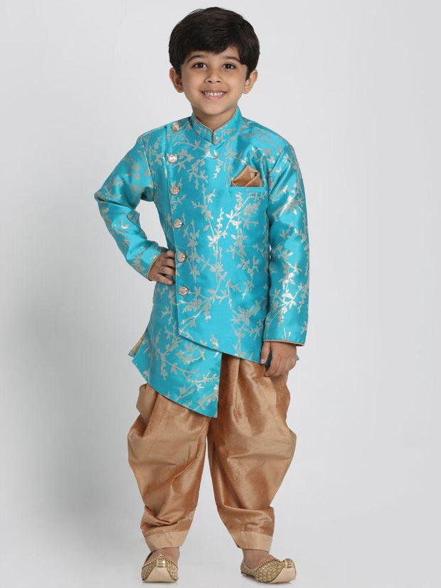 Boys' Light Blue Cotton Silk Blend Kurta and Dhoti Pant Set