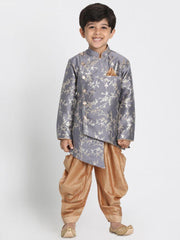 Boys' Grey Cotton Silk Blend Kurta and Dhoti Pant Set