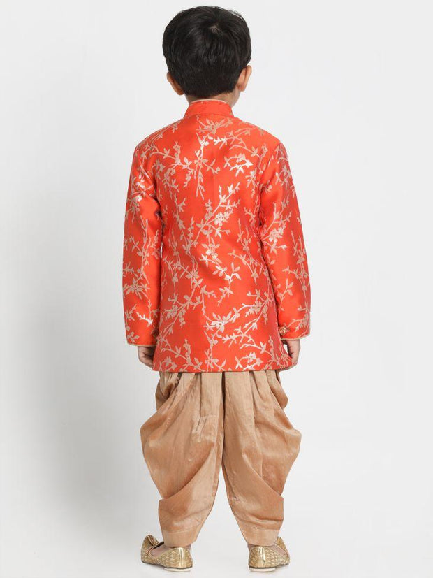 Boys' Orange Cotton Silk Blend Kurta and Dhoti Pant Set