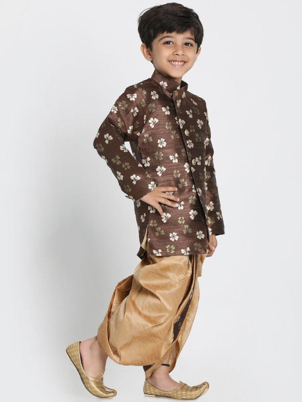 Boys' Brown Cotton Silk Blend Kurta and Dhoti Pant Set