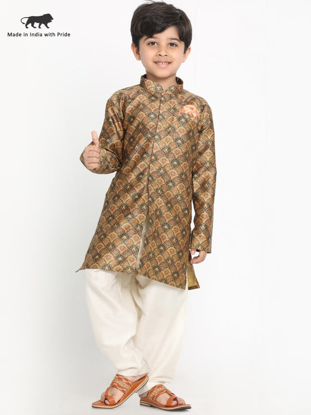 JBN Creation Boys' Silk Blend Kurta and Pyjama Set