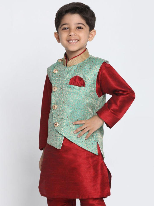Boys' Green Cotton Silk Blend Nehru Jacket