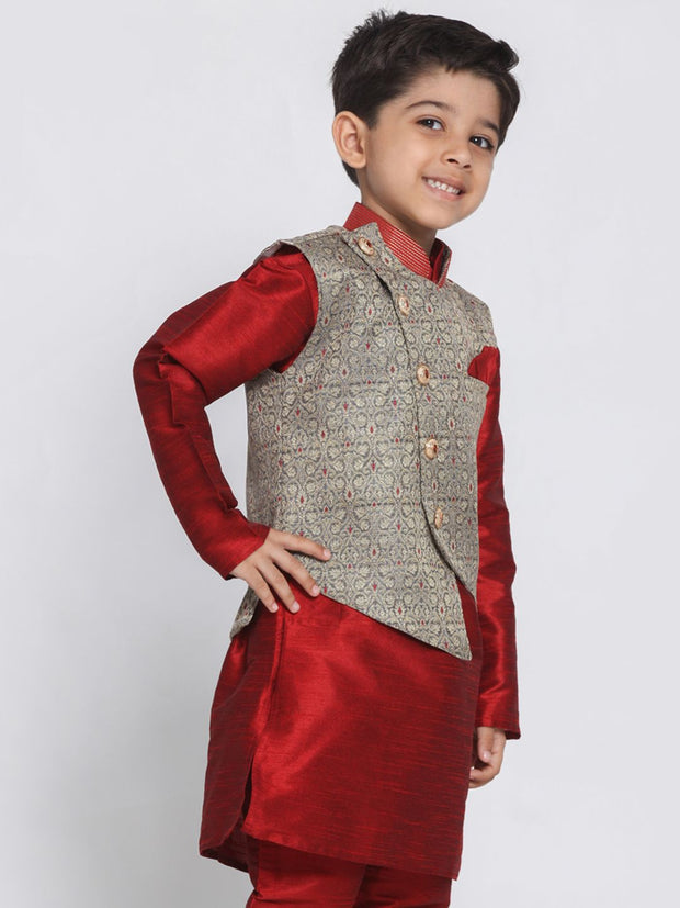 Boys' Grey Cotton Silk Blend Nehru Jacket