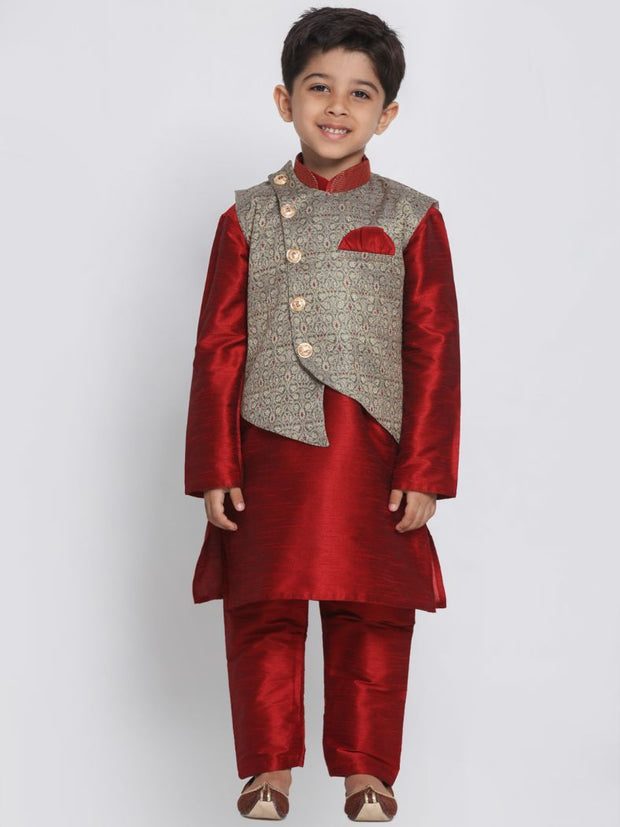 Boys' Maroon Cotton Silk Blend Kurta, Waistcoat and Pyjama Set
