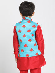 Boys' Light Blue Cotton Silk Blend Nehru Jacket