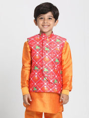 Boys' Pink Cotton Silk Blend Nehru Jacket