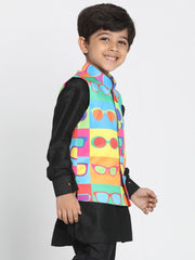 Boys' Multicolor Cotton Silk Blend Nehru Jacket