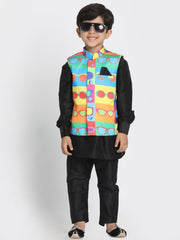 Boys' Black Cotton Silk Blend Kurta, Waistcoat and Pyjama Set