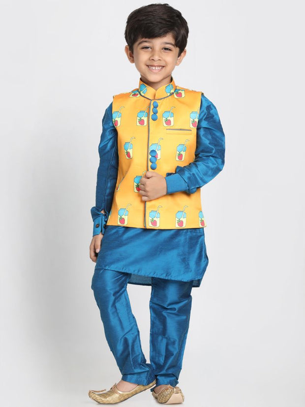 Boys' Orange Cotton Silk Blend Nehru Jacket