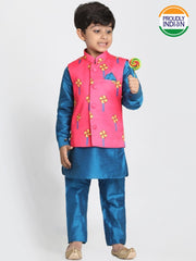 Boys' Light Blue Cotton Silk Blend Kurta, Waistcoat and Pyjama Set