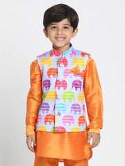 Boys' Purple Cotton Silk Blend Nehru Jacket