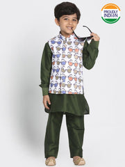 Boys' Dark Green Cotton Silk Blend Kurta, Waistcoat and Pyjama Set