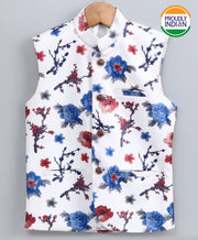 JBN Creation Boys' Imported Fabric Floral Print Ethnic Jacket