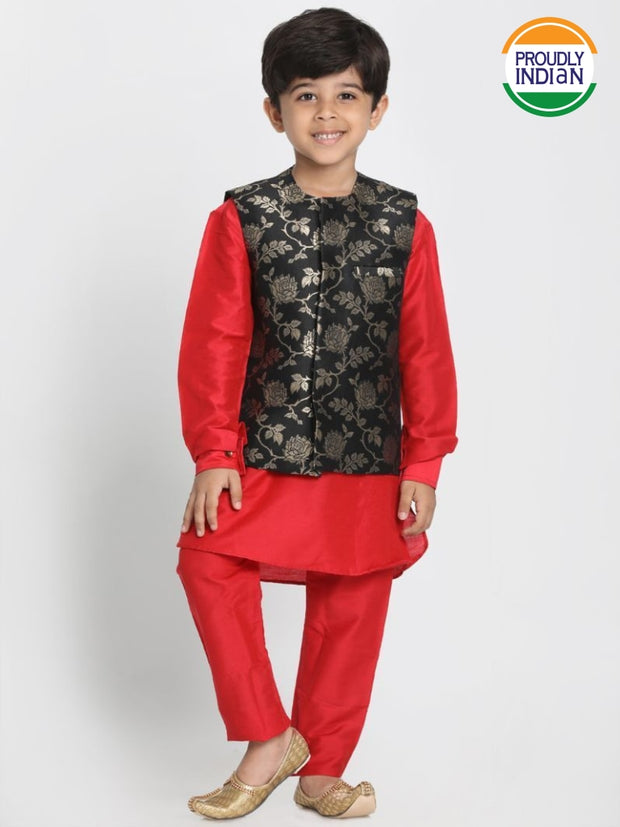 Boys' Red Cotton Silk Blend Kurta, Waistcoat and Pyjama Set