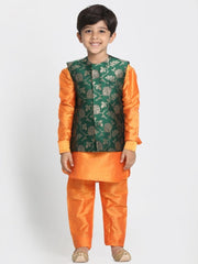 Boys' Orange Cotton Silk Blend Kurta, Waistcoat and Pyjama Set