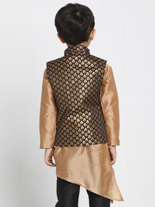 Boys' Black Cotton Silk Blend Nehru Jacket