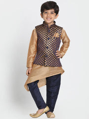 Boys' Deep Blue Cotton Silk Blend Nehru Jacket