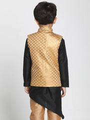 Boys' Gold Cotton Silk Blend Nehru Jacket