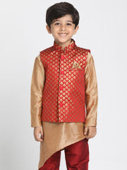 Boys' Maroon Cotton Silk Blend Nehru Jacket