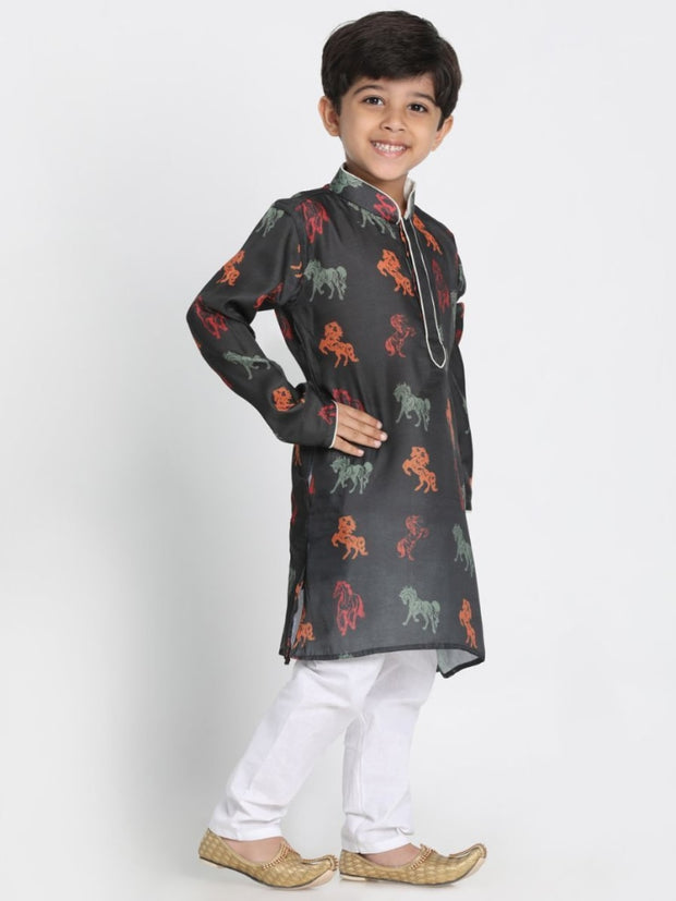 Boys' Black Cotton Blend Kurta and Pyjama Set