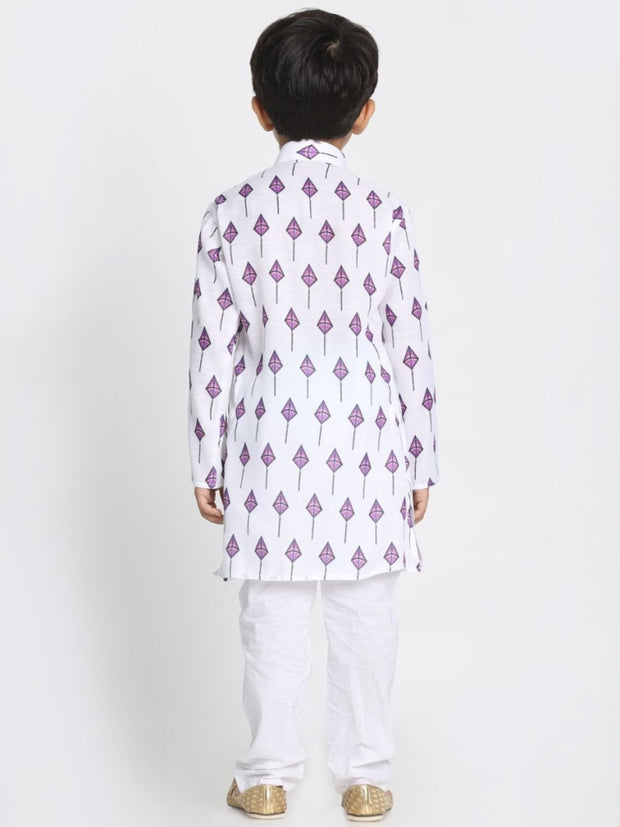 This white cotton printed Kurta set is so adorable