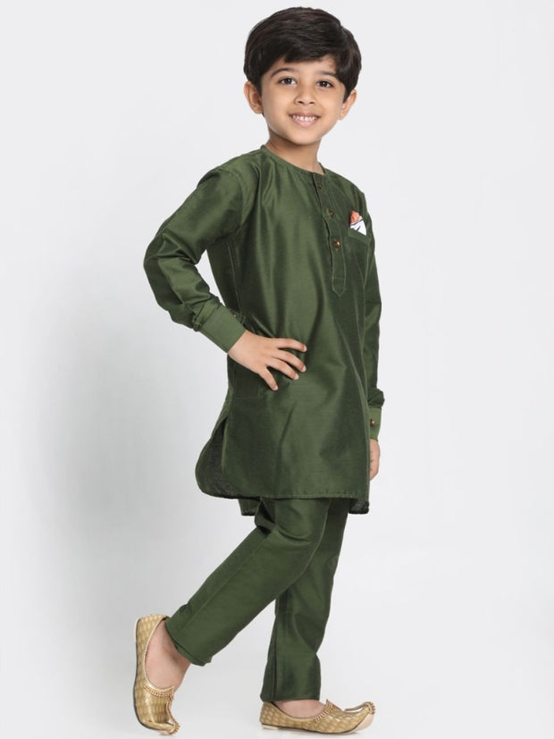 Buy this dark green kurta for your cute male child