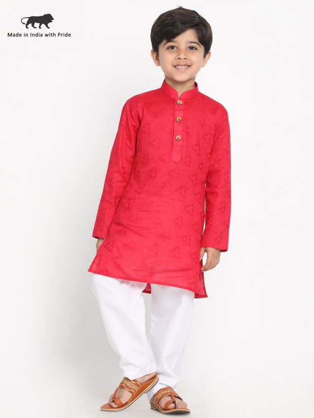 JBN Creation Boys' Self Design Kurta and Pyjama Set