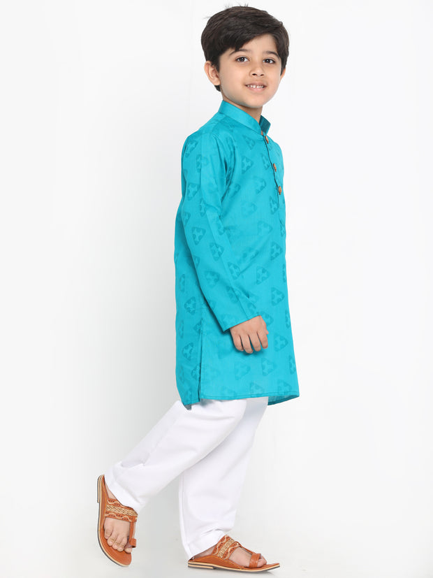 JBN Creation Boys' Turquoise Jacquard Kurta and Pyjama Set