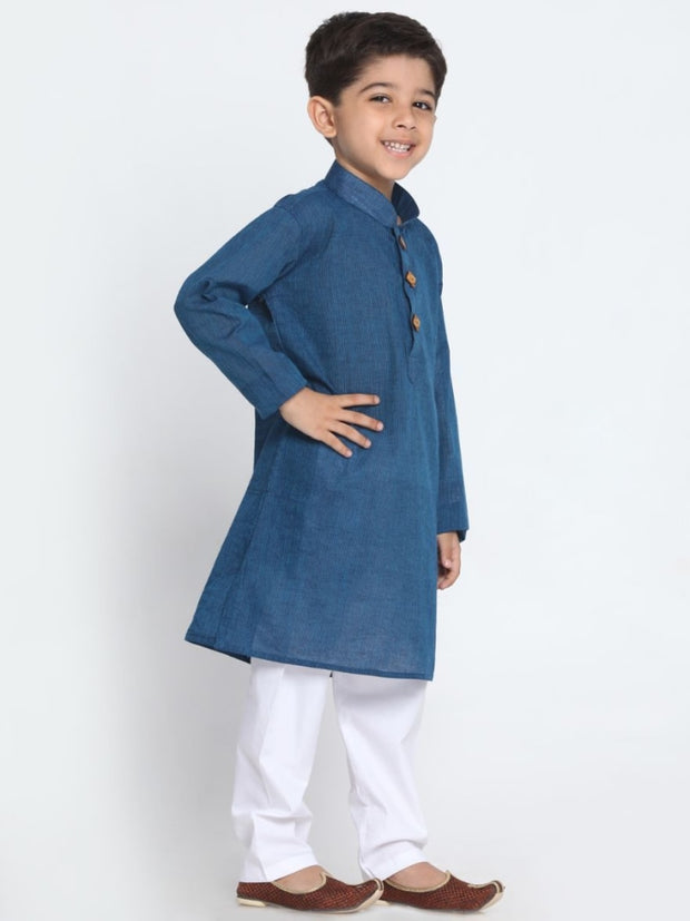 Boys' Blue Cotton Kurta and Pyjama Set