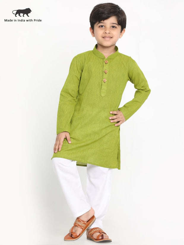 JBN Creation Boys' Teal Green and White Handloom Pure Cotton Kurta and Pyjama Set