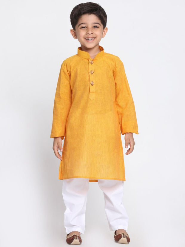 Boys' Yellow Cotton Kurta and Pyjama Set