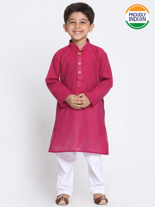 Boys' Purple Cotton Kurta and Pyjama Set