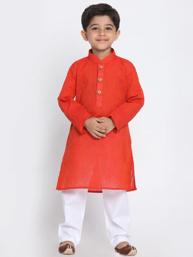 Boys' Red Cotton Kurta and Pyjama Set