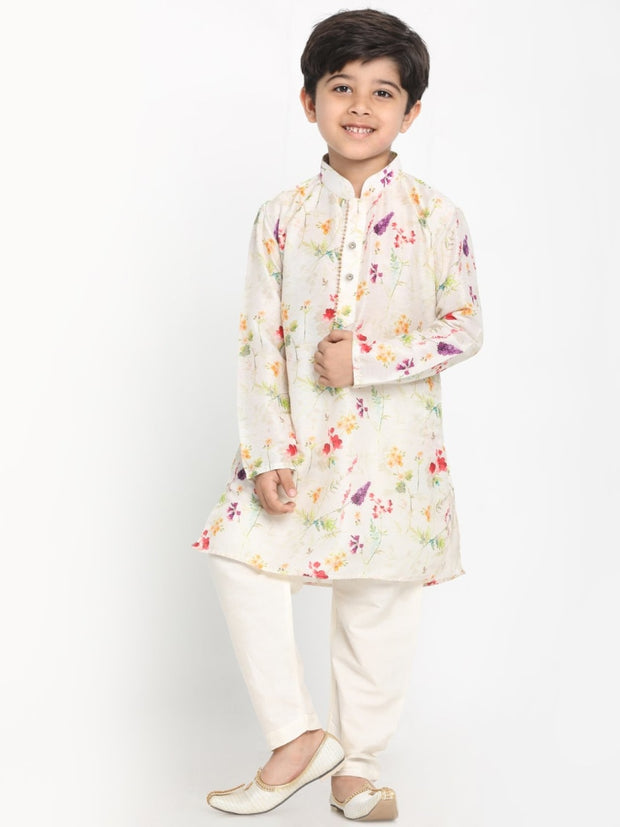JBN Creation Boys' Multicolor-Base-Cream Cotton Blend Kurta and Pyjama Set