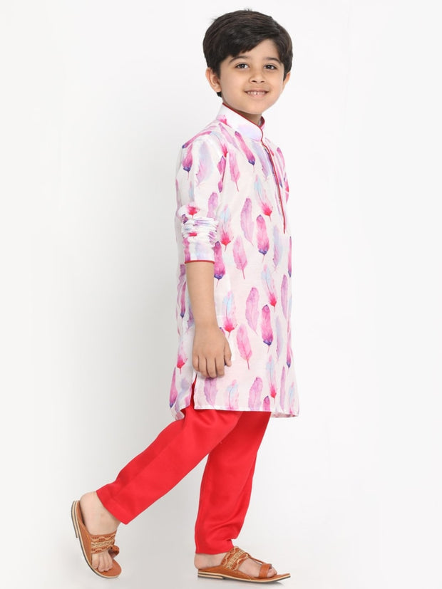 JBN Creation Boys' Cotton Silk Digital Printed Kurta and Pyjama Set