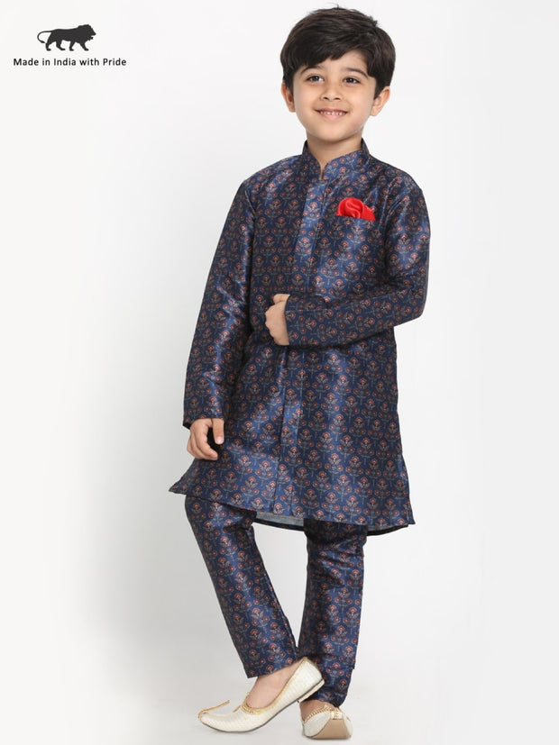 JBN Creation Boys' Silk Blend Digital Printed Kurta and Pyjama Set