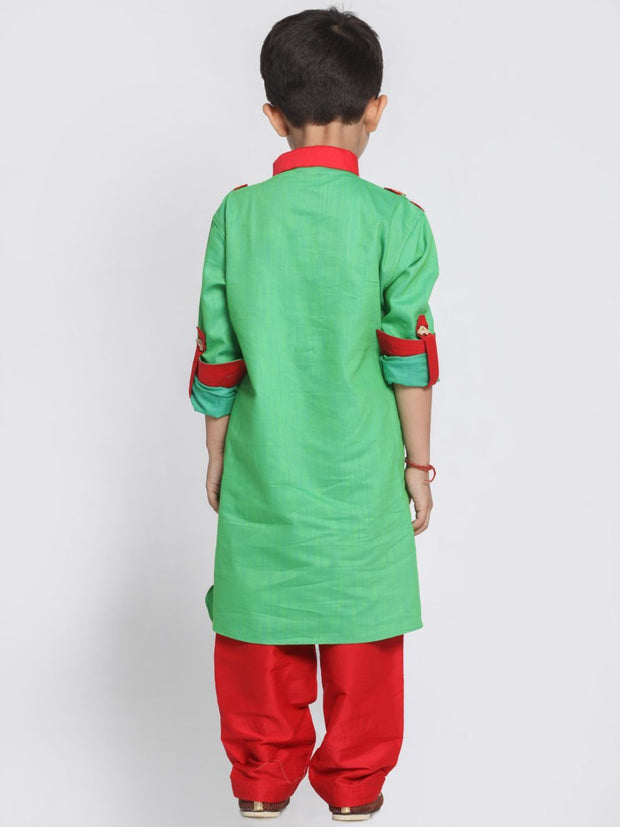 Boys' Green Cotton Pathani Suit Set