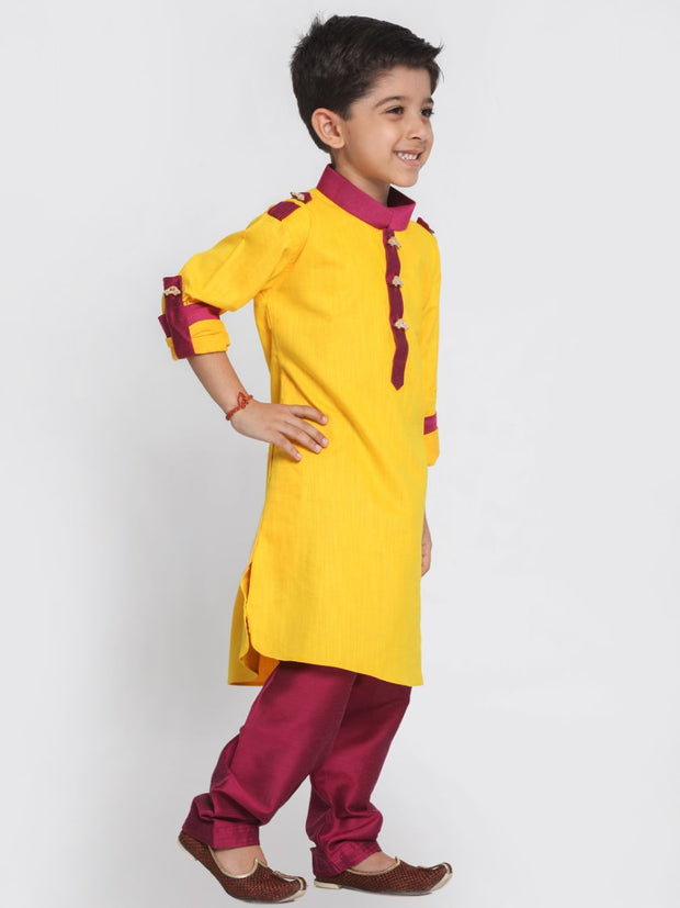 Yellow-maroon pathani suit looks gorgeous