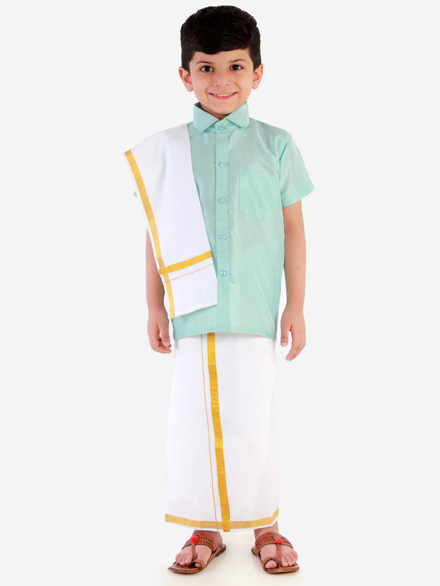 JBN Creation Boys' Aqua Silk Short Sleeves Ethnic Shirt