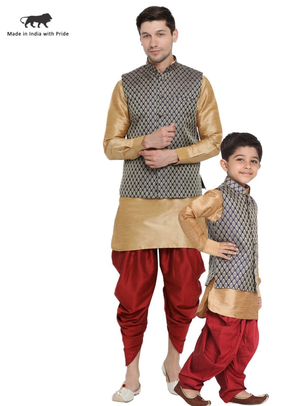 Vastramay Men & Boys Rose Gold Cotton Silk Dhoti Kutra & Jacket Set