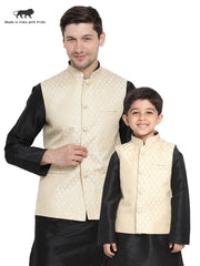Vastramay Men & Boys Cotton Blend Cream Ethnic Jacket