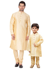 Vastramay Men and Boys Gold Cotton Silk Kurta and Pyjama Set