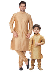 Vastramay Men and Boys Rose Gold Cotton Silk Kurta and Pyjama Set