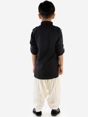 Men & Boys Black Solid Cotton Blend Pathani Suit Set