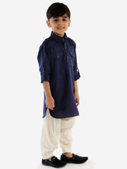Men & Boys Blue Solid Cotton Blend Pathani Suit Set