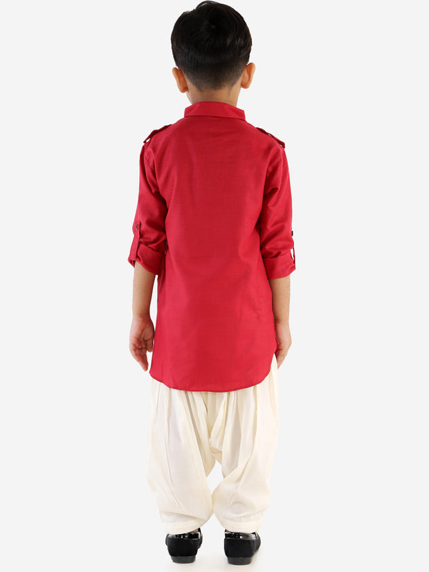 Men & Kids Maroon Solid Colour Blend Pathani Suit Set